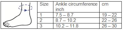 Malleo Dynastab® Boa® Ankle Brace Sizing Chart