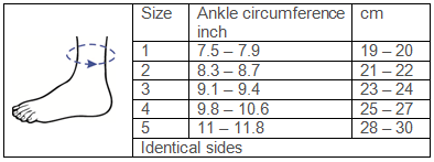 Silistab Achillo® Ankle Brace Sizing Chart