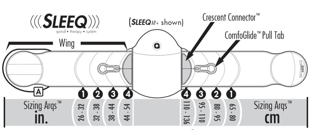 SLEEQ Lumbar brace Sizing Chart