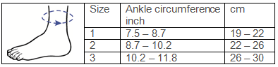 Malleo Dynastab® Lace-up Ankle Brace Sizing Chart